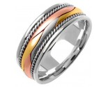 Tri Color Gold Hand Braided Wedding Band 8mm TC-360A