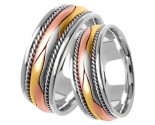 Tri Color Gold Hand Braided Wedding Band Set 8mm TC-360AS