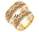 Tri Color Gold Hand Braided Wedding Band Set 7mm TC-455AS