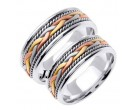 Tri Color Gold Hand Braided Wedding Band Set 7mm TC-455BS