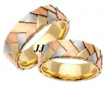 Tri Color Gold Hand Braided Wedding Band Set 6mm TC-554BS