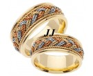 Tri Color Gold Sailor Braid Wedding Band Set 8mm & 9mm TC-556AS