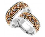 Tri Color Gold Sailor Braid Wedding Band Set 8mm & 9mm TC-556BS