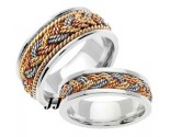 Tri Color Gold Sailor Braid Wedding Band Set 6mm & 8mm TC-557BS