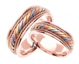 Tri Color Gold Hand Braided Wedding Band Set 7mm TC-560CS