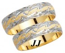 Two Tone Gold Fancy Wedding Band Set 6mm TT-1170S