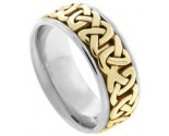 Two Tone Gold Celtic Wedding Band 8.5mm TT-2351
