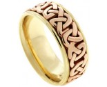 Two Tone Gold Celtic Wedding Band 8.5mm TT-2353
