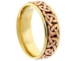 Two Tone Gold Celtic Design Wedding Band 7mm TT-2354