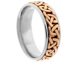 Two Tone Gold Celtic Design Wedding Band 7mm TT-2355