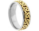 Two Tone Gold Celtic Design Wedding Band 7mm TT-2356
