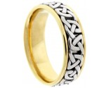 Two Tone Gold Celtic Design Wedding Band 7mm TT-2357