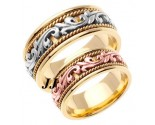 Two Tone Gold Paisley Wedding Band Set 8mm TT-265BS
