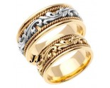 Two Tone Gold Paisley Wedding Band Set 8mm TT-265DS