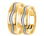 Two Tone Gold Hand Braided Wedding Band Set 7mm TT-299BS