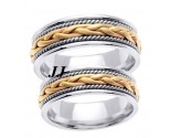 Two Tone Gold Hand Braided Wedding Band Set 7mm TT-455BS