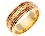 Two Tone Gold Greek Key Wedding Band 8mm TT-558E