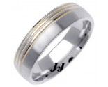 Two Tone Gold Designer Wedding Band 6mm TT-1282A