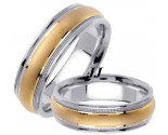 Two Tone Sandblasted Wedding Band Set 6.5mm TT-1353AS