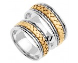 Two Tone Gold Hand Braided Wedding Band Set 8mm TT-160S