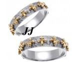 Two Tone Gold Fleur De Lis Wedding Band Set 5mm TT-2000S