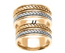 Two Tone Gold Hand Braided Wedding Band Set 9mm TT-257BS