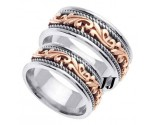 Two Tone Gold Paisley Wedding Band Set 8mm & 9mm TT-259AS