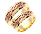 Two Tone Hand Braided Wedding Band Set 7mm TT-260BS