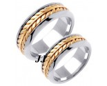 Two Tone Gold Ivy Leaf Wedding Band Set 8mm TT-271AS