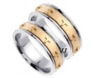 Two Tone Cross Wedding Band Set 7mm TT-273CS
