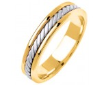 Two Tone Gold Hand Braided Wedding Band 5mm TT-292C