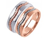Two Tone Gold Hand Braided Wedding Band Set 7mm TT-299S