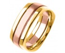 Two Tone Gold Flat on Square Wedding Band 8mm TT-354A