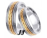 Two Tone Gold Hand Braided Wedding Band Set 7mm TT-355BS