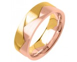 Two Tone Gold Designer Wedding Band 7mm TT-356B