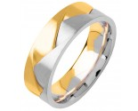 Two Tone Gold Designer Wedding Band 7mm TT-356C