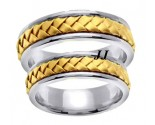 Two Tone Gold Hand Braided Wedding Band Set 7mm TT-358BS