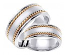 Two Tone Gold Hand Braided Wedding Band Set 8mm TT-359BS