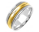 Two Tone Gold Hand Braided Wedding Band 8mm TT-360A