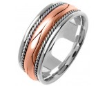 Two Tone Gold Hand Braided Wedding Band 8mm TT-360B