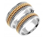 Two Tone Gold Hand Braided Wedding Band Set 8.5mm TT-362BS