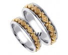 Two Tone Gold Diamond Back Wedding Band Set 6mm TT-451BS