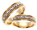 Two Tone Gold Bow-Tie Braid Wedding Band Set 6mm TT-460CS