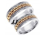 Two Tone Gold Bow - Tie Wedding Band Set 8mm TT-461BS