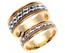 Two Tone Gold Bow - Tie Wedding Band Set 6mm & 8mm TT-461CS