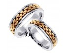 Two Tone Pebble Wedding Band Set 7mm TT-551BS