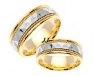 Two Tone Hammered Wedding Band Set 8.5mm TT-555AS
