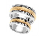 Two Tone Gold Hammered Wedding Band Set 8.5mm TT-569AS
