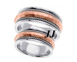 Two Tone Gold Hammered Wedding Band Set 8.5mm TT-569CS