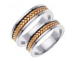 Two Tone Gold Hand Braided Wedding Band Set 6mm TT-651AS